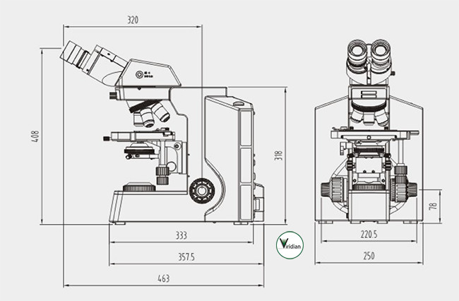 Viridian RB40 Microscope Dimensions