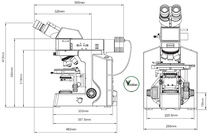 Palomar Metallurgical Microscope Dimensions